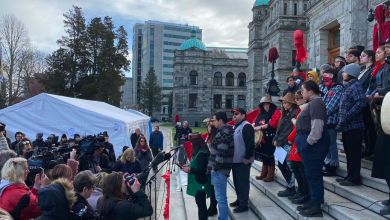 Photo of Protestors occupy the steps of BC legislature in Victoria