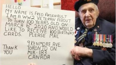 Photo of WWII veteran requests 100 birthday cards, Canadians do not disappoint