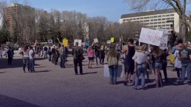 Photo of Hundreds protest coronavirus lockdowns at Alberta Legislature – True North