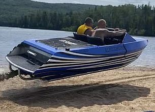 Photo of Taureau Reservoir, Qc: Miracle escape for lucky father-to-be after speedboat flips over mid-air while trying to cross land at 25mph