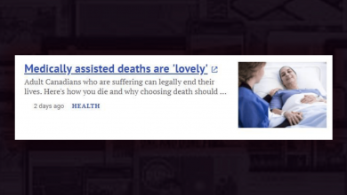 """Photo of Postmedia article promotes assisted suicide, calls dying """"lovely"""""""