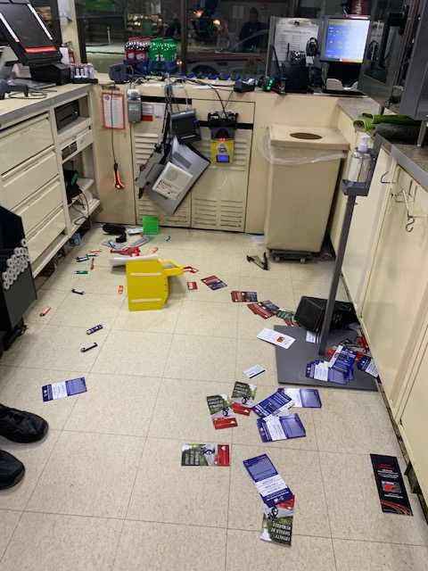 The store was observed to be in a state of disarray with items strewn around the store, and damage done to various pieces of electronic equipment.