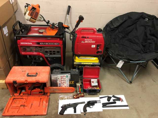 Stolen were multiple generators, assorted power tools and gas powered tools.