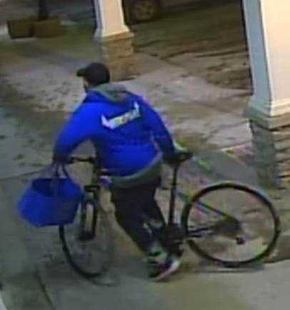 Suspect was last seen wearing a bright blue sweater with the word Revelstoke on the front, black pants and a black hat.