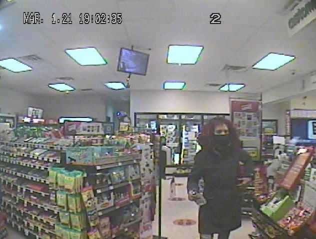 Harbour Grace RCMP looks to identify this woman captured on surveillance in relation to a theft that occurred at the Needs Convenience store in Harbour Grace on March 1, 2021.