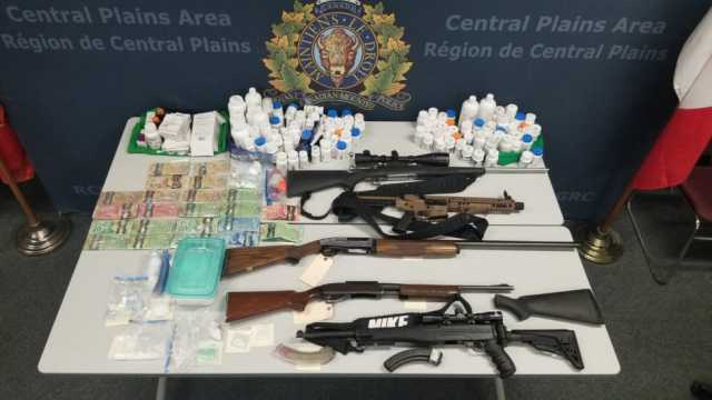 At the first residence on 1st Street NW, police seized a firearm, a pellet gun, ammunition, an undisclosed amount of Canadian currency, cannabis, a substance believed to be fentanyl/carfentanyl, methamphetamine, and cocaine.