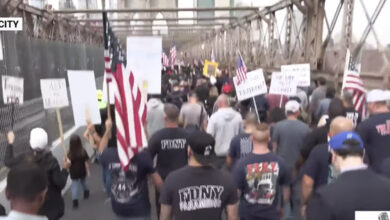 Tens of thousands of New York City workers are marching in protest of the city's Covid vaccine mandate.