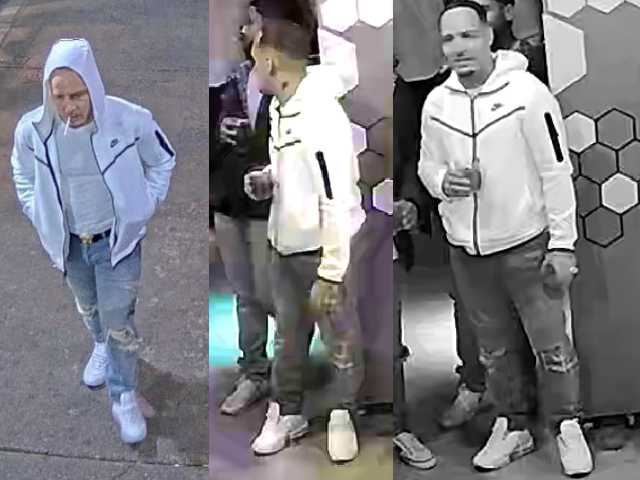 The suspect is described as being under six feet tall, with a visible tattoo on his neck and dark wavy hair. He was wearing a white Nike track suit top, blue jeans and white runners.